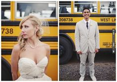 school bus transportation for a chic yellow & grey wedding | CHECK OUT MORE IDEAS AT WEDDINGPINS.NET | #weddings #uniqueweddingideas #unique