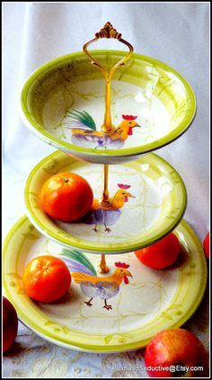 "Cute three tier handmade cake stand ""Three Cockerel Kings"" using limited edition…"