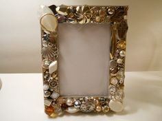 Frame Handmade with Old Jewelry / for 3 x 5 Photo by PiccoloPattys
