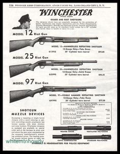 1954 WINCHESTER 12, 25, 97 Riot Gun Shotgun AD : Other Collectibles at GunBroker.com