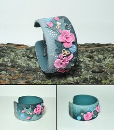 Field Flower bracelet, cuff bracelet, green pink and blue color, polymer clay jewelry