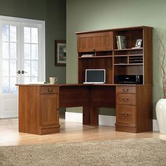Shaker Cherry L Shaped Desk With Hutch - Sauder Office Furniture