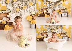 Bumble bee first birthday smash cake session Bee Birthday Cake, Smash Cake First Birthday, Bumble Bee Birthday, Birthday Fun, Birthday Ideas, Toddler Birthday Themes, First Birthday Theme Girl, Kids Party Themes, 1st Birthday Pictures