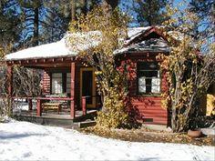Big Bear City Vacation Rental - VRBO 226083 - 3 BR Big Bear Cabin in CA, A Sweet Pine Cabin - Vintage 40'S Log Cabin-Retro Yet Chic! Big Bear Lake Cabin, Lake Cabins, Big Bear Rentals, Cabin Paint Colors, Big Bear Vacation, Big Bear City, Pet Friendly Cabins, Red Houses, Luxury Cabin