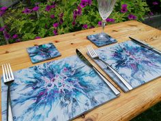 Placemats and coasters, dinner set for 4, acrylic pour tableware on ceramic tiles with grey, teal and hot pink, new home or anniversary gift Handmade Birthday Gifts, Handmade Gifts, Beautiful Gifts For Her, Boho Ideas, Handmade Table, Tile Coasters, Dinner Sets, Special Birthday, Acrylic Pouring
