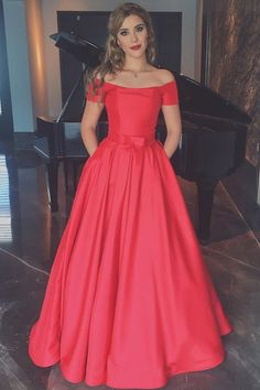 Elegant Coral Short Sleeves Off the Shoulder Ball Gown Cheap Prom Dress With Pocket OK813