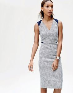 J.Crew women's sleeveless tweed and eyelet dress. To pre-order, call 800 261 7422 or email verypersonalstylist@jcrew.com.