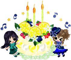 レモンのバースデーケーキと2人の女の子のイラスト