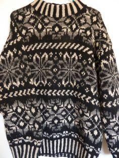 Shetland Sweater 100% Wool Nordstrom Thick Ski Hippie Black White Gray Size Med #Nordstrom #Ski