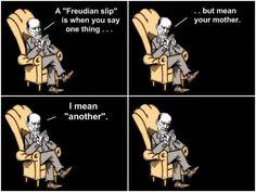 """Grapje over Freudiaanse verspreking. Kan ter illustratie van de stof dienen, of (beter) als opdracht waarbij ll. bijv. het grapje en de term """"freudiaanse verspreking"""" in eigen woorden uitleggen. Aardige toevoeging is om ll voorbeelden van henzelf of anderen uit het eigen leven te laten verzinnen."""