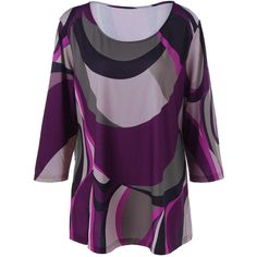 Plus Size Abstract Print T Shirt ($13) ❤ liked on Polyvore featuring tops, t-shirts, plus size t shirts, abstract tees, women's plus size tops, plus size tops and purple top