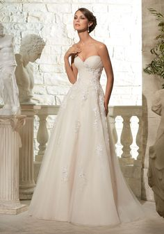 Morilee Bridal Tulle Ball with Crystal Beading on Embroidered Appliques