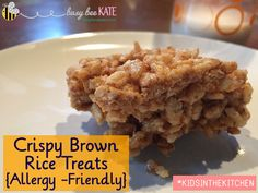 Kids in the Kitchen - {Allergy-Friendly} Crispy Brown Rice Treats.  A healthier alternative to traditional krispie treats using almond butter or {your safe} nut or seed butter.  #kidsinthekitchen #allergyfriendly (busybeekate.com)