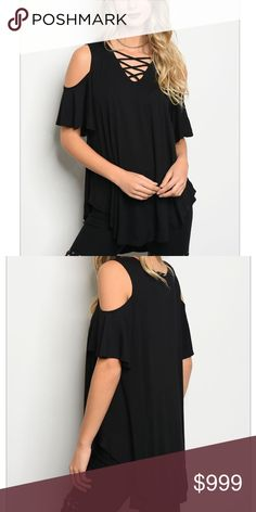 """🔜🌴TRENDY BLACK TOP🍍 🔜❤️LISTING FOR ARRIVAL NOTIFICATION ❤️ 🌴TRENDY BLACK TOP FEATURES 3/4 SLEEVE, RELAXED FIT, COLD SHOULDERS, LACE UP ROUNDED NECK & ROUNDED HEM🌴 🍍VISCOSE / LYCRA 🍍SMALL B: 42"""" L: 31"""" W: 46"""" Tops"""