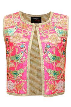 Pink sequins embroidered bird jacket by Surabhi Arya. Shop at: http://www.perniaspopupshop.com/designers/surabhi-arya #jacket #surabhiarya #shopnow #perniaspopupshop