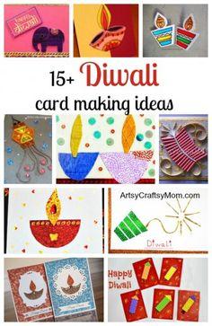 15+ Diwali card making ideas - Diya card , handmade card, deepavali cards for kids to make , fire cracker card