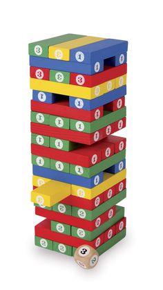 Jenga consiste in 54 blocchi di legno su piani che formano una torre, incrociando tre blocchi per piano. I giocatori a turno sottraggono, utilizzando il lancio del dado,  un blocco di legno a loro scelta dalla torre e, con una sola mano, lo posizionano sulla sommità della stessa