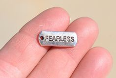 10 Silver Fearless  Charms SC2358 by LorettasBeads on Etsy