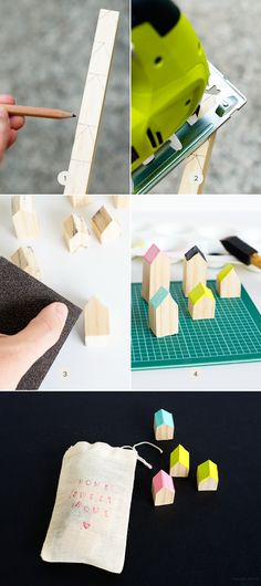 These little wooden houses would be great for imaginative play. You can DIY a set of these blocks for your kids!