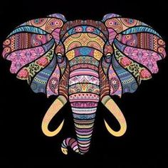 Large Size Heat Pressed Mosaic Elephant Colorful Design Men& Size T-Shirt Gildan SoftStyle Polyester Cotton Blend Christmas Elephant Quilt, Elephant Head, Dot Painting, Oil Painting On Canvas, Elefante Hindu, African Art Paintings, Scratch Art, Elephant Design, Cat Colors