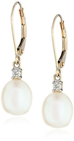 10k Yellow Gold Freshwater Cultured Pearl with Diamond-Accented Drop Earrings (10.5-11 mm) Amazon Curated Collection http://www.amazon.com/dp/B004RLU3DM/ref=cm_sw_r_pi_dp_WxxFub1RBYZ0W