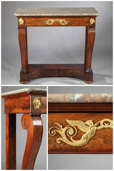 Empire Mahogany and Gilt Bronze Console Stamped KOLPING.