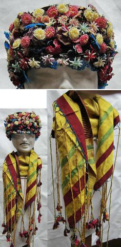 'Kefiye oyalı ve poşulu zeybek başı' (ceremonial headgear and scarf of the 'Efe' / 'Zeybek'). Manisa-style (with small three-dimensional flower-oya). The hat was made in our workshop; only authentic needle-lace (iğne oyası) were used. The scarf ('poşu') is old: circa 1920-1940. (Kavak Folklor Ekibi