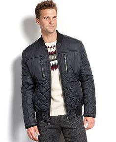 Marc New York Jacket, Force Quilted Faux Leather Trim Bomber - Coats & Jackets - Men - Macy's