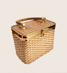 1960s Box Handbag Straw Woven by Algo Hong Kong by Hoopties for $22.00