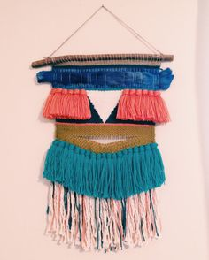 Sedona / colorful wall hanging weaving tapestry with tassels. textile art