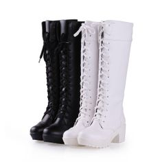 Womens Lace Ups Block Heels Knee High Punk Gothic Riding Boots Shoes Plus Size