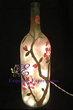 Wine Bottle Vases, Empty Wine Bottles, Painted Wine Bottles, Hand Painted Wine Glasses, Lighted Wine Bottles, Bottle Lights, Wine Bottle Crafts, Liquor Bottles, Bottle Art
