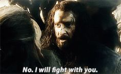 "(gif) - DOS EE : Thorin: ""Father!""  Thrain: ""Stay back!""  Thorin: ""No. I will fight with you.""  Thrain: ""Azog means to kill us all! One by one, he will destroy the line of Durin. But by my life, he shall not take my son! You must stay here.""  Thorin: ""My father led a charge towards the Dimholt Gate. He never returned. 'Thrain is gone,' they told me, 'He is one of the fallen.' But at the end of that battle I searched amongst the slain, to the last body. My father was not among the dead."""