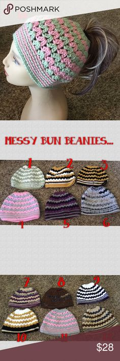MESSY BUN BEANIES.... SUPER CUTE... MESSY BUN BEANIES..VARIETY OF COLORS, DON'T FEEL LIKE DOING YOUR HAIR, POP IT UP IN A PONY...WITH THIS MESSY BUN BEANIE......PICK THE NUMBER YOU WANT.. Accessories Hats