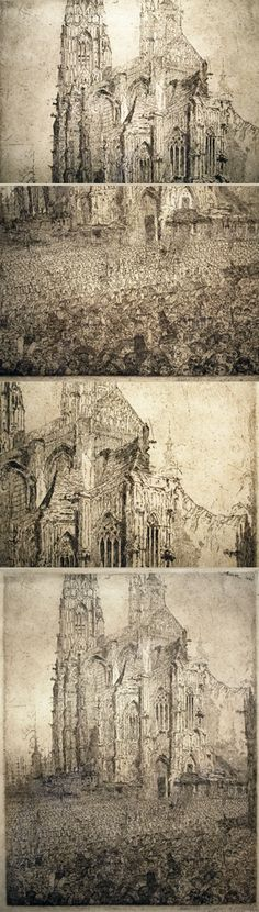 """James Ensor, etching, """"Christ's Entry into Brussels"""" with detail views"""