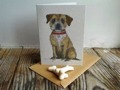 Border Terrier Card by huxleyjonesdesigns on Etsy