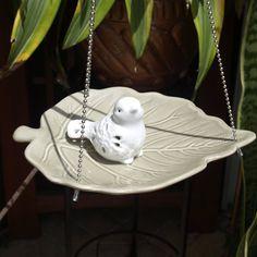 Glass Bird Feeder Leaf vintage repurposed hanging by ARTfulSalvage, $30.00