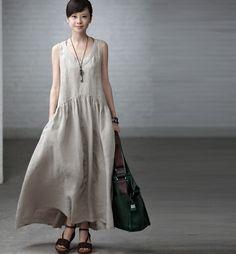 Maxi Dress - Summer Dress in Rice White- Linen Sundress for Women-Sleeveless (116)