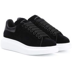 Alexander McQueen Velvet Sneakers ($475) ❤ liked on Polyvore featuring shoes, sneakers, black, alexander mcqueen trainers, velvet shoes, alexander mcqueen, black sneakers and kohl shoes