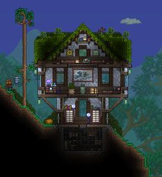 Terraria House Design, Terraria House Ideas, Terraria Tips, Minecraft Box, Minecraft Crafts, Minecraft Treehouses, Construction Games, Building Furniture, Witch House