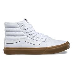 The Light Gum Sk8-Hi Slim, a slimmed down version of the legendary Vans lace-up high top, features sturdy canvas uppers, padded collars for support and flexibility, and gum-colored signature rubber waffle outsoles.
