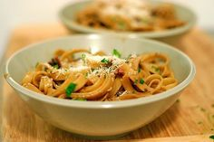 Fettucine with procini pasta! I love this website, it is a delicious food blog with creative recipes.
