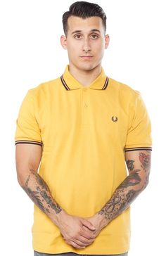 FRED PERRY TWIN TIPPED POLO SHIRT GOLD/MAH $74.00 #fredperry #guys #polo