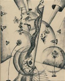 Artwork by Ella Bergmann-Michel, Fische und Schlangenskelett, Made of ink pen over pencil on Pergamin