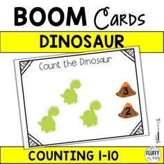 Counting Boom Cards : Counting Dinosaur Cards) by Fluffy Tots Dinosaur Printables, Dinosaur Activities, Browser Chrome, Card Reading, Counting, Preschool, Teacher, Student, Education
