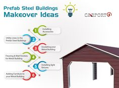Prefab steel buildings are definitely functional. Here are some makeover idead to add comfort and style to your metal building. Prefab Metal Buildings, Metal Storage Buildings, Metal Garages, Steel Buildings, Wall Finishes, Floor Finishes, Installing Light Fixture, Metal Building Kits, Metal Workshop