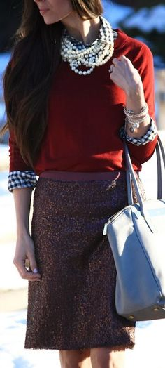 Feminine look for office - pearls, a sweater + shirt and an A line skirt