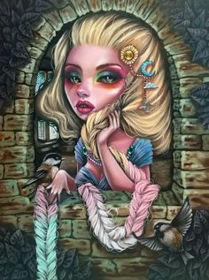 These prints are all of my Original oil paintings. They are on Fine Art Luster Paper. They are common frame sizes so that you may find your perfect frame anywhere. Grimm, Dark And Twisty, Fairytale Art, Pop Surrealism, Creepy Cute, Illustrations, Gothic Art, Fairy Art, Cartoon Art