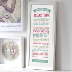 like the home print in the corner -link for personalised '10 things' best mum print by the drifting bear co. | notonthehighstreet.com