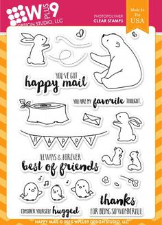Happy Mail Stamps - WPlus9 Design Studio. Happy Mail is a 4 x 6 set containing 26 individual stamps; 21 images and 5 sentiments. Illustrated by Joni Andaya, the
